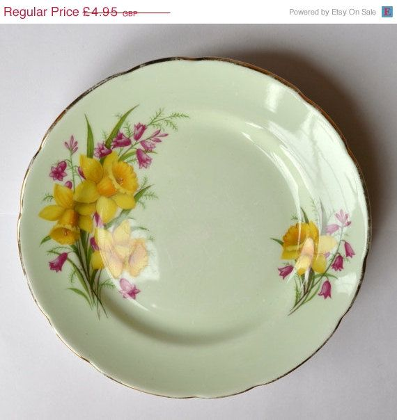 CLEARANCE Green Side Plate Daffodil Imperial Bone by lilymint, £1.98