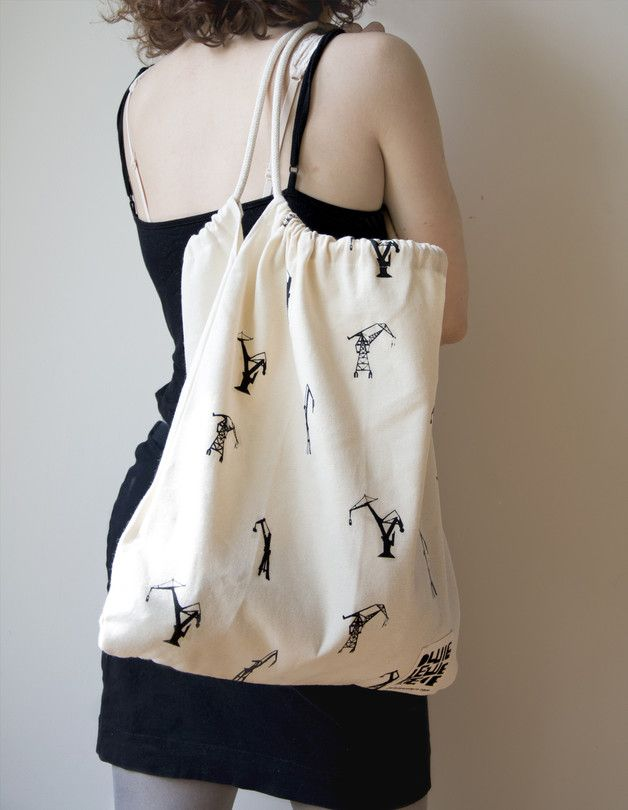 100% cotton 240g  handmade, silkscreen, tote bag, cranes, inspired by Gdańsk shipyard, graphic print, black and white