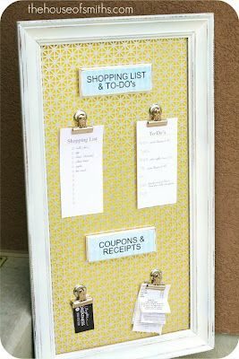 Good idea for keeping track of what to get for ea house  DIY magnetic board perfect for family command center!