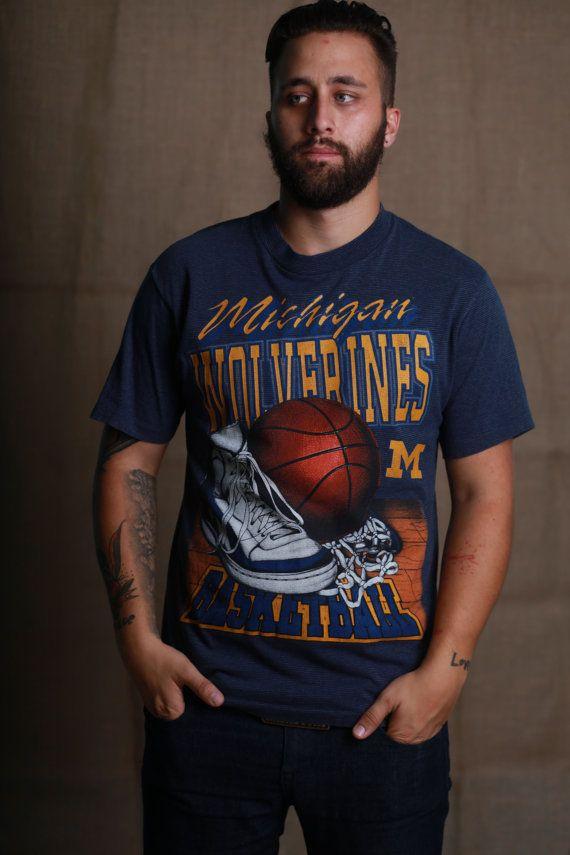 Vintage Michigan Wolverines Basketball Tshirt by VintageVanShop, $20.00