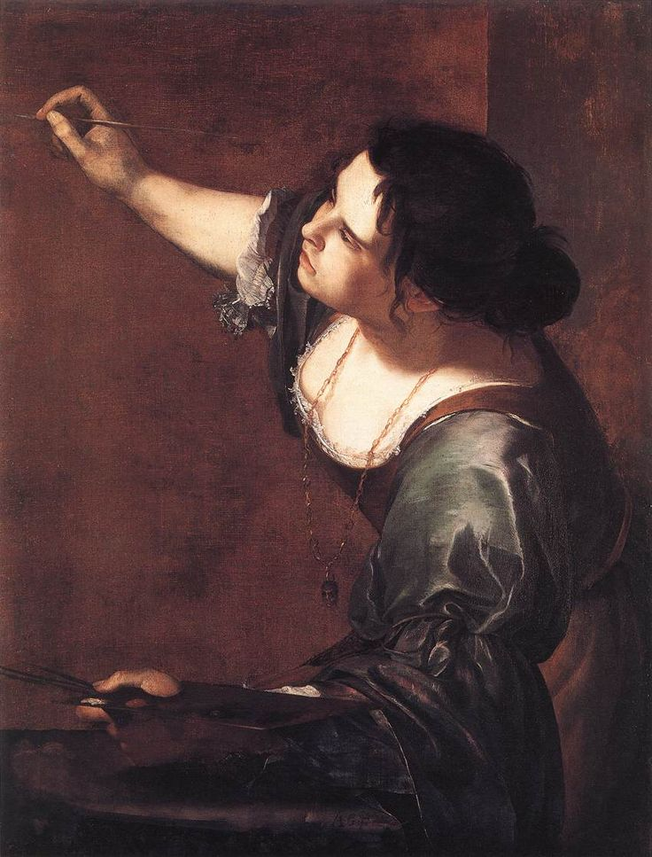 Self Portrait by Artemisia Gentileschi (1593 to 1653), female artist, contemporary of Caravaggio, lived a life of independence and was a formidable personality.
