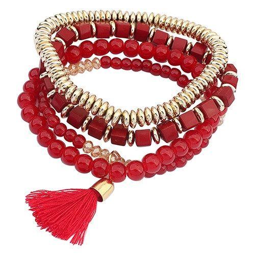 Набор браслетов красного цвета