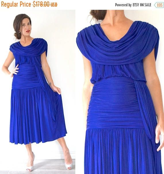 SUMMER SALE / 20% off Vintage 80s Eletra Casadei Royal Blue Cocktail Dress with Ruched Waist and Grecian Draping (size small, medium)