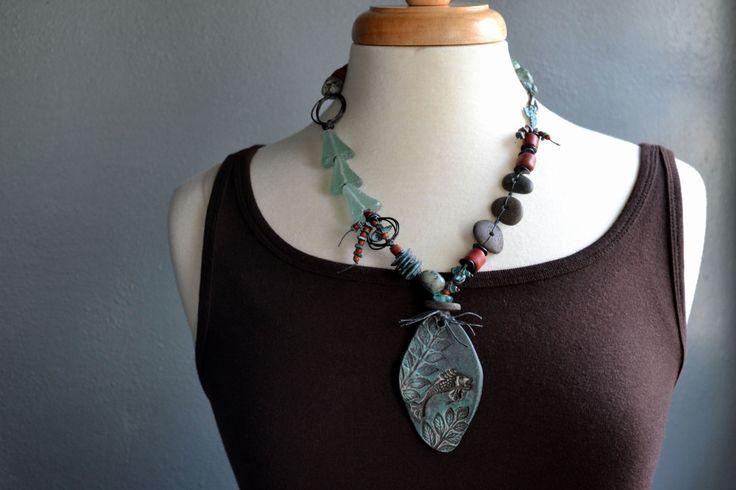 Boho fish necklace, Ceramic Fish pendant, Eclectic boho necklace, Lake Superior stones, Teal aqua red, Ethnic, Ancient fish, Fisherman by JeSoulStudio on Etsy https://www.etsy.com/listing/223071347/boho-fish-necklace-ceramic-fish-pendant