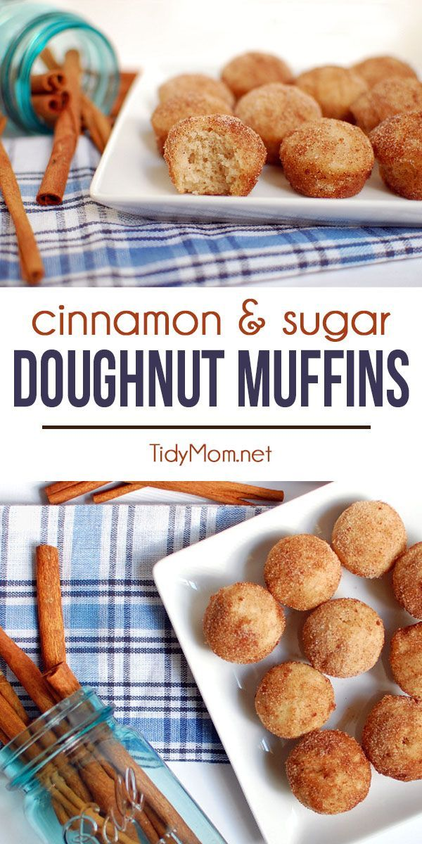 These Cinnamon and Sugar Doughnut Muffins are like a sweet hug from Grandma. They have the flavor of a cake doughnut, with the ease of simply making muffins! Make mini muffins, and they're just like doughnut holes! Get the full printable recipe at TidyMo