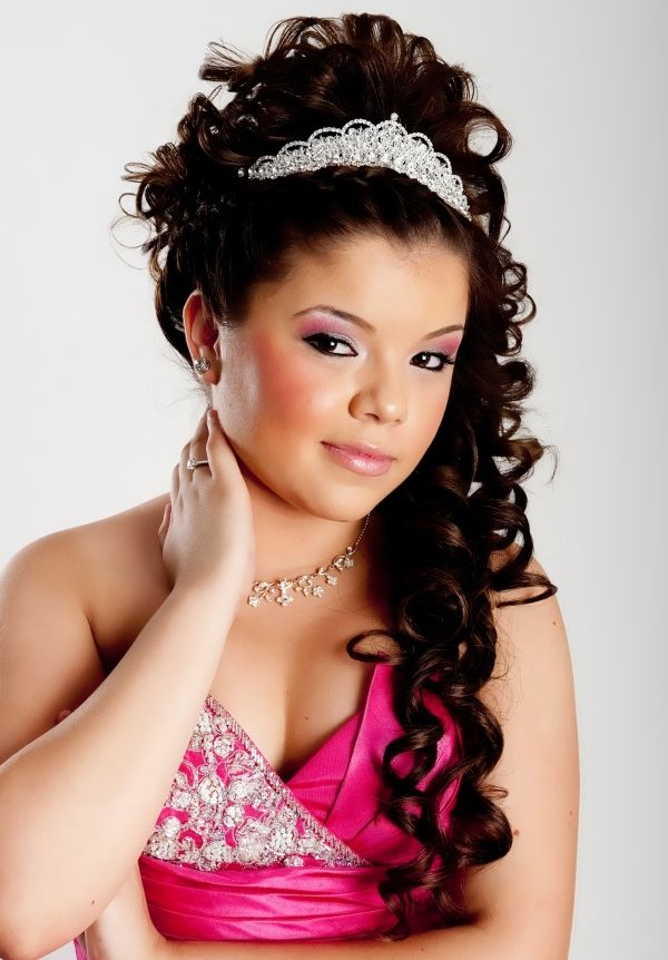 ... Hair With Tiara And Curls quinceanera hairstyles quinceanera /sweet 16