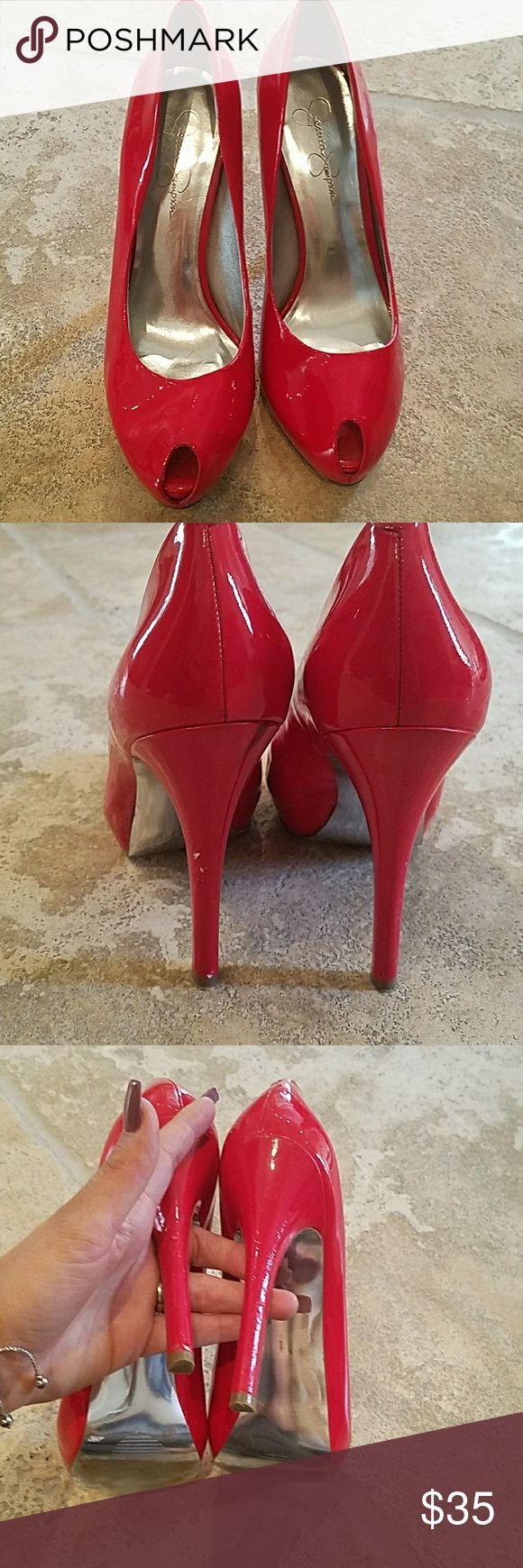 Red patent Jessica Simpson heels Sexy cherry red peptoe heels Shoes Heels