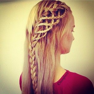 Mini braids incorporated into a waterfall braid. This looks cool!