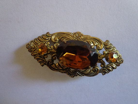 Beautiful Vintage Filigree Topaz Stone Brooch by PipersEmporium, $12.50