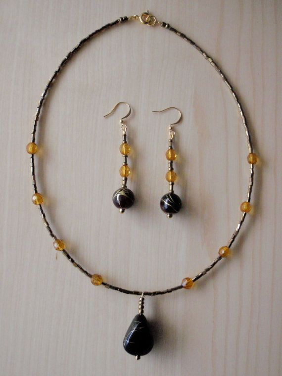 Gold and brown set by RosemarysJewellery on Etsy