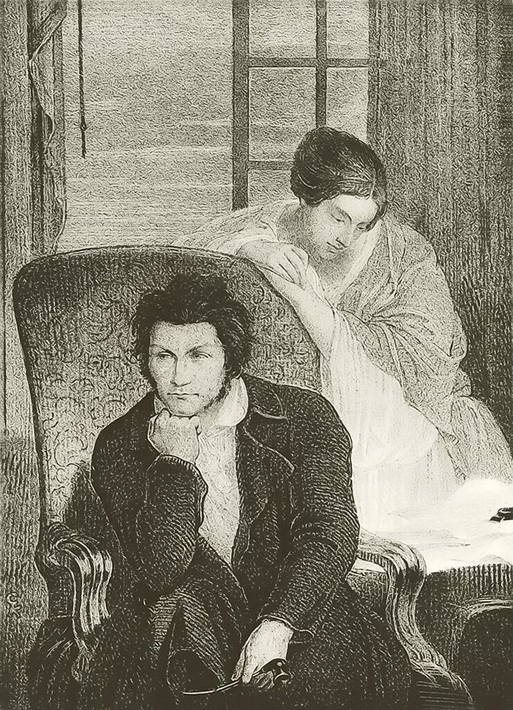 E.T.A. Hoffmann in an armchair with a woman leaning behind him. Lithograph, by Matthias Rudolf Toma