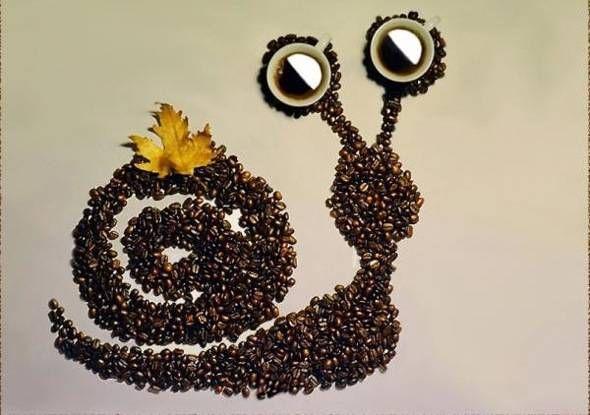 Food art with coffee beans by Irina Nikitina l #photography #cartooncharacters