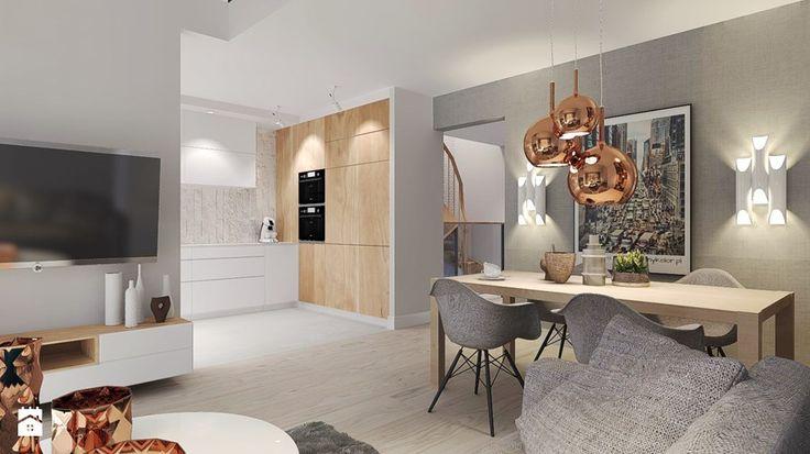 Mieszkanie z miedzianymi dodatkami. - Średnia otwarta jadalnia w salonie, styl nowoczesny - zdjęcie od Agata Hann Architektura Wnętrz
