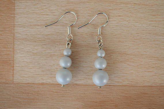 Gray Pearl Earrings  Pastel Earrings  Swarovski Pearl Drop