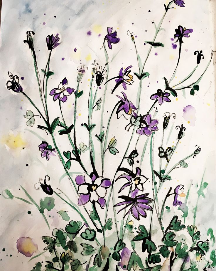 Watercolour Pen and Ink Flower Sketchbook Painting by NyxStudioArt