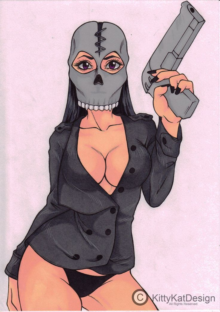 Lady with Skull Mask Art Trade by Vossy