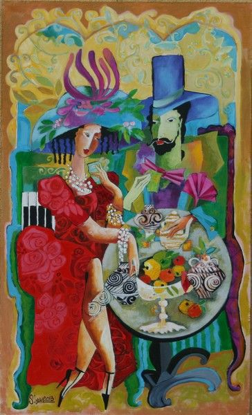 Muse in red  75x45 cm by Stela Vesa