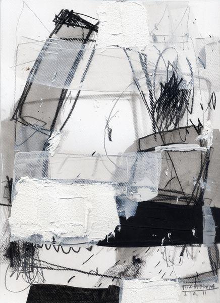 Mixed Media Art, Artist Study with thanks to Fitz Herrera , for CAPI ::: Create Art Portfolio Ideas at www.milliande.com Art Resources for Art School Portfolio Work, Abstract, Painting, Collage, Neutral Tones