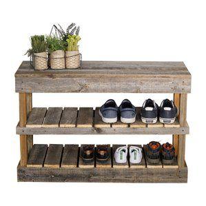 Captivating Barnwood 8 Pair Shoe Storage Bench