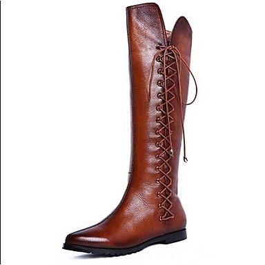 VROUWEN - Kniehoge laarzen - Combat Boots/Rijlaarzen/Fashion Boots - Laarzen ( Zwart/Bruin ) - met Others - en Leder – EUR € 99.99