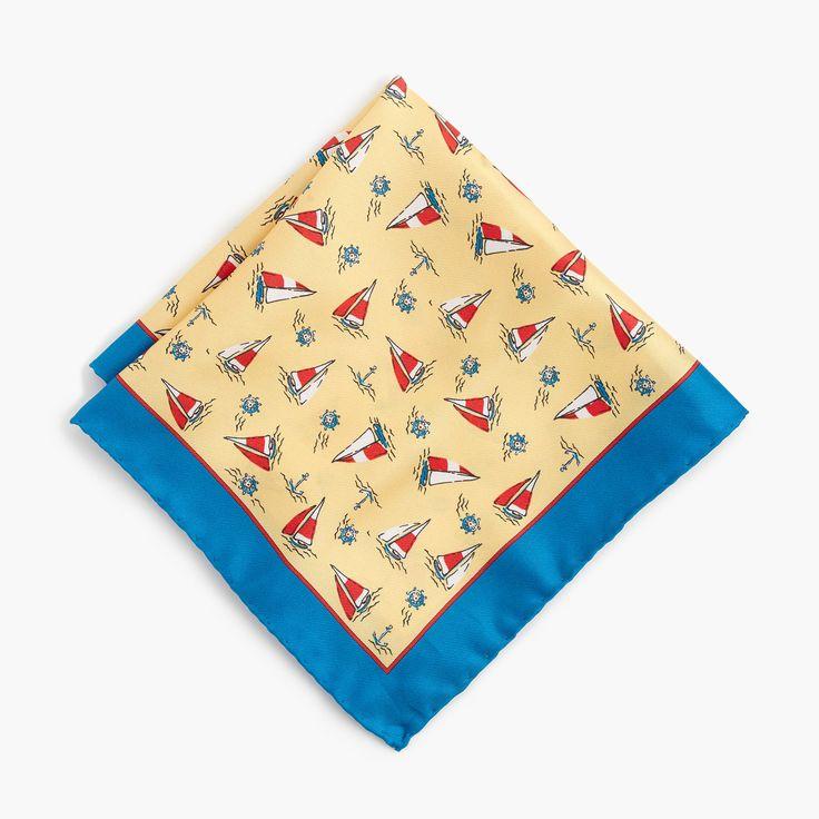 J.Crew - Italian silk pocket square in sailboat print