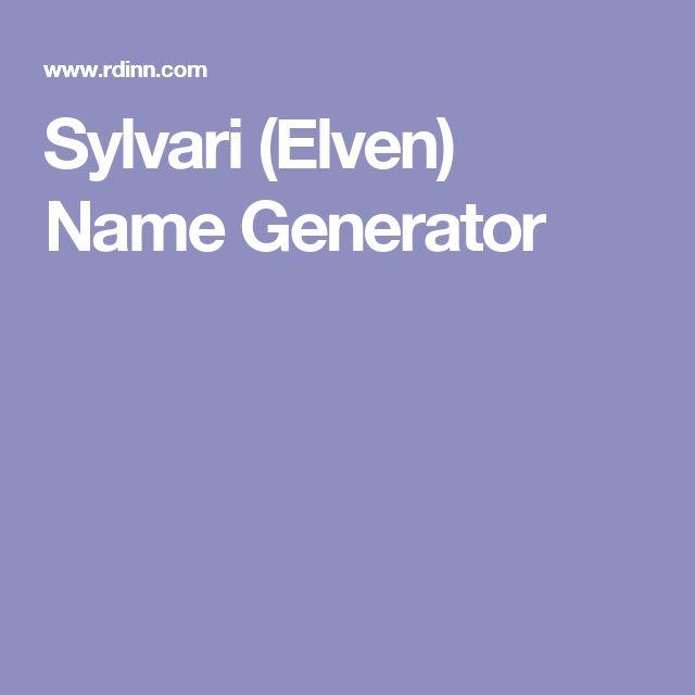 Sylvari (Elven) Name Generator