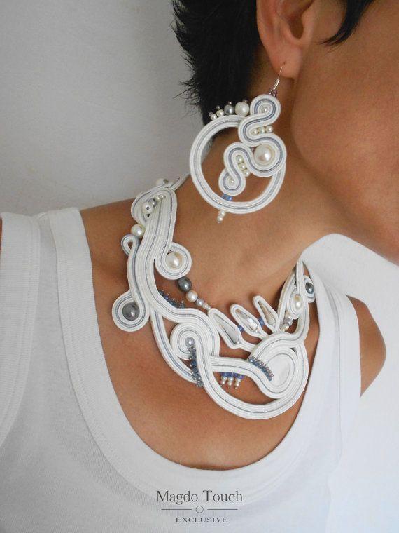 Bridal set necklace soutache set modern statement от MagdoTouch