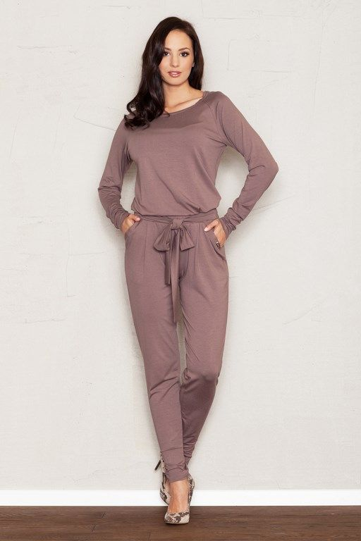 Long brown jumpsuit with a decorative bow