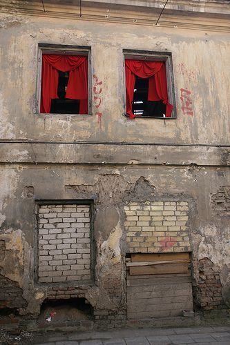 Red curtains viewed from the street