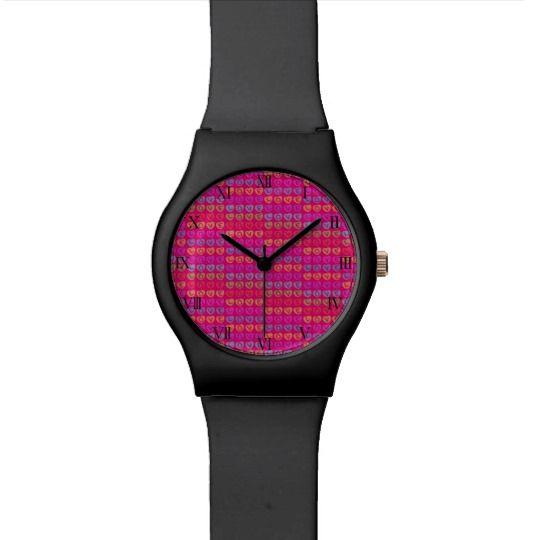LOVE Wrist Watch by www.zazzle.com/htgraphicdesigner* #zazzle #gift #giftidea #wrist #watch #wristwatch #woman #pink #heart #love #valentinesday