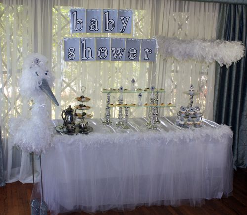 Boy Baby Shower Table Decoration Storks Ideas