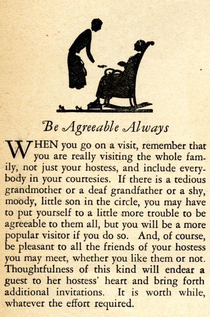Favorite Vintage Advice: Be Agreeable Always