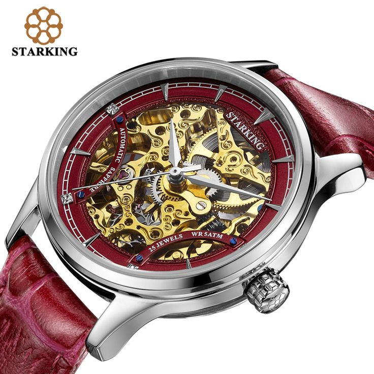 STARKING Women Automatic Mechanical Skeleton Watches Luxury Famous Brand Leather Strap Buckle Sapphire White Wrist Watch AL00185-inWomen's Watches from Watches on Aliexpress.com | Alibaba Group