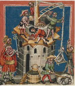 Building the Medieval World.  Illustration to Rudolf von Ems's World Chronicle  MS. 33 folio 13  J. Paul Getty Museum, Los Angeles, U.S.A.   Germany (Regensburg), circa 1400–1410