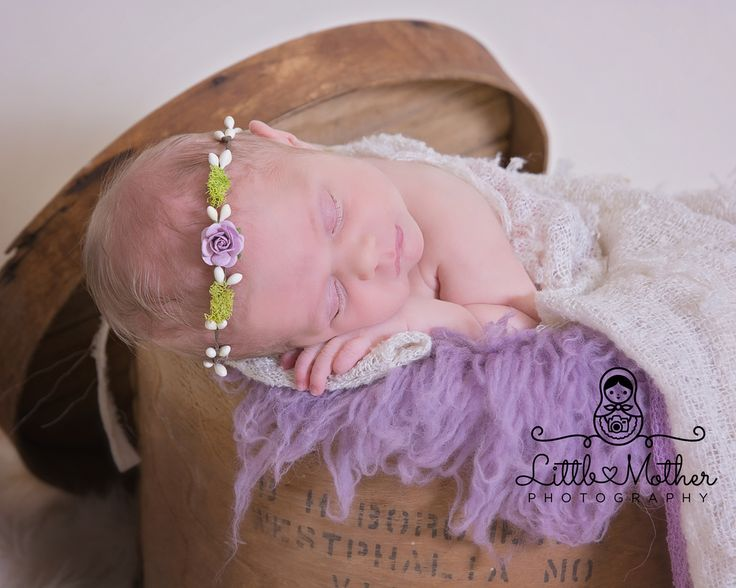 Baby girl newborn portrait purple hat box headband sweet soft hat boxespurple flowersbaby photoshoot