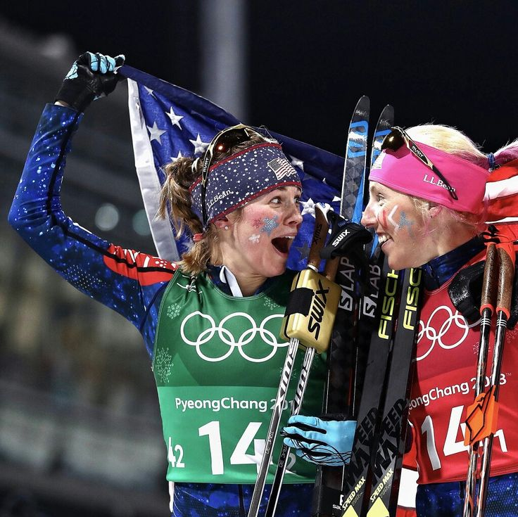 GOLD! Team USA's Jessie Diggins and Kikkan Randall captured gold in the women's team sprint at Alpensia Cross-Country Skiing Center at the 2018 Winter Olympics. The medal was only the second ever won by a U.S. cross-country skier at the Winter Games. The Americans had gone empty-handed since Bill Koch's silver in 1976.  #JessieDiggins #KikkanRandall #PyeongChang #CrossCountrySki