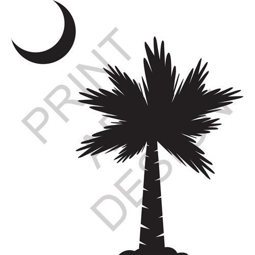 PALMETTO MOON print art design from embroiderydesigns.com, Cuttable Design Cut File. Vector, Clipart, Digital Scrapbooking Download, Available in SVG, DXF. AI, EPS, JPG, PNG, and PSD.