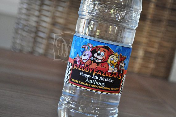 Five Nights at Freddys inspired water bottle labels LABELS MEASURE: 8.25 x 2 FITS: 16.9 fl. oz. Water Bottle 15 Labels Per Order Self Adhesive / Weather & Water-Proof Water Bottles are NOT included. PLEASE ALLOW: PRODUCTION TIME: 3-5 Business Days (M-F) ***PLEASE leave