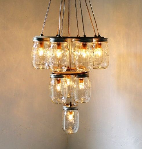 Handcrafted 14 Mason Jar Pendant Light Chandelier W Rustic: 34 Best Things To Do With Mason Jars Images On Pinterest