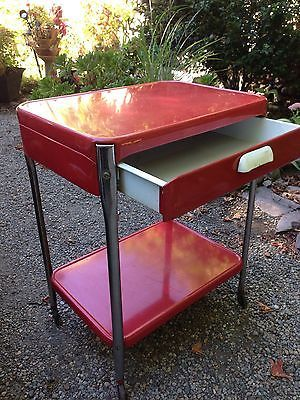 Vintage Red Cosco Style 2 Shelf 1 Drawer Metal Rolling Kitchen Utility Cart    eBay