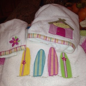 Pottery Barn Kids Surfboard Surf Bath Towels Pink Island Surf 3pc | EBay