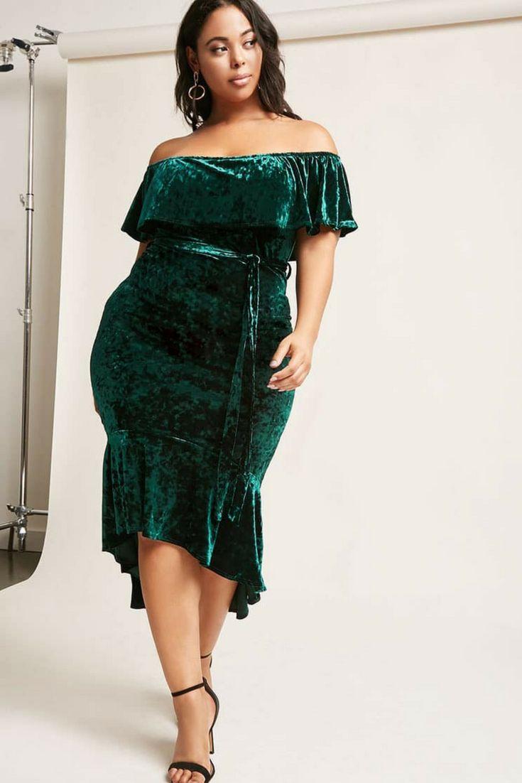 Crushed velvet midi dress featuring an elasticized off-the-shoulder  neckline, s…