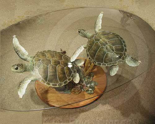"""OMG!! I Want one!!!! Green Sea Turtles Table: Featuring a pair of Green Sea Turtles swimming over coral, various sponges, star fish and other sea creatures Ltd. Edition: 450 Size: 37""""L x30""""W x18""""H...$14,500.00"""