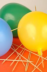 No More Than We Can Bear -God will help us through difficult times and temptations.  He never allows us to go through more than we can bear, and He never leaves us alone.  The lesson is made by sticking wooden skewers through balloons without popping them.