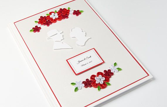 Personalized Unique Red Wedding Guest Book Quilling Floral Sign In Book Wedding Album Handmade Anniversary Guestbook Etsy by PaperParadisePL