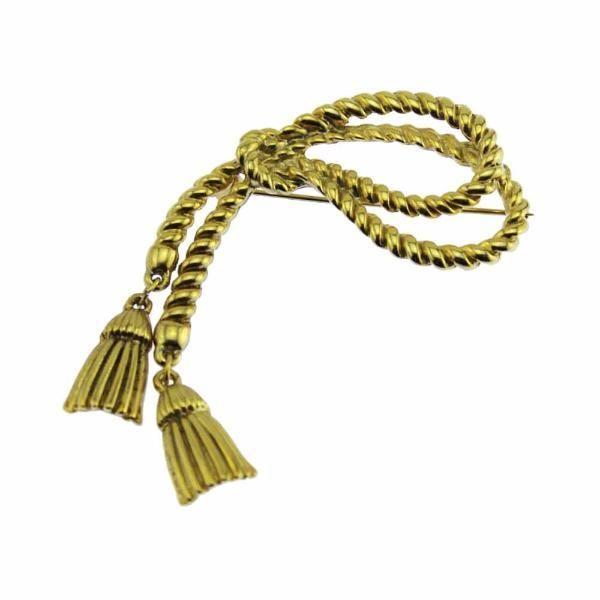 Large Gold Rope Tassel Brooch