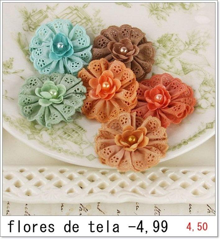 Flores en tela, muy bonitas
