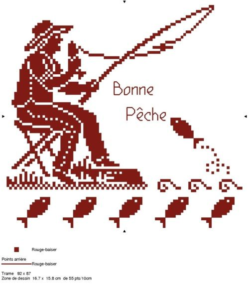 loisirs - leisure - pêche - point de croix - cross stitch - Blog : http://broderiemimie44.canalblog.com/