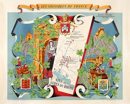 HETREAX, R. Les Vignobles de France. Vins des Cotes du Rhone.  Original lithograph in colours, printed in France, 46 Rue de lille Paris, issued by the French Government, c.1950. #wine