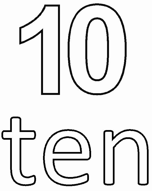 Number 10 Coloring Page New Number 10 Coloring Sheets For